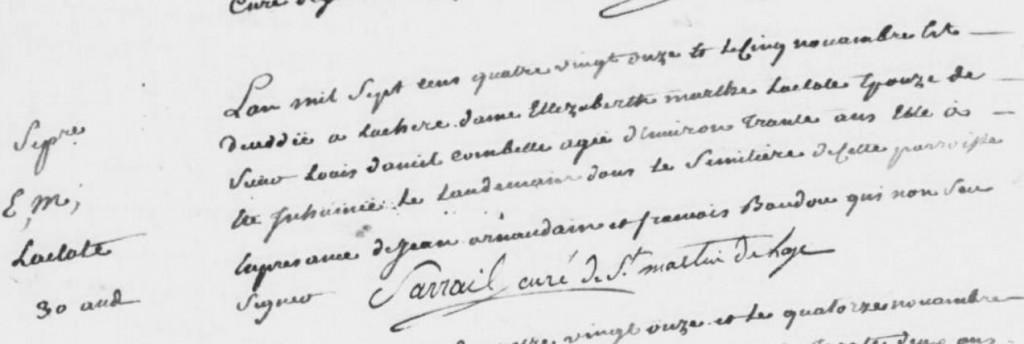 Acte d'inhumation d'Elizabeth Marthe LACLOTTE (AD33 - Bayas - 5 novembre 1791 - vue 110 sur 115)
