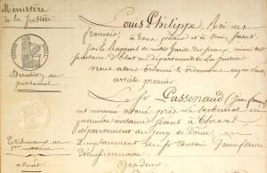 Nomination de Jean-François Passenaud en tant qu'avoué à Thiers