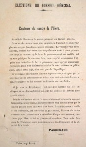 Document de campagne électorale à Thiers (signé Passenaud)