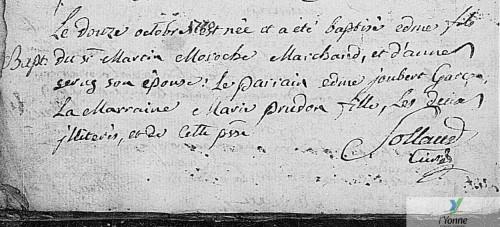 Acte de baptême d'Edmé Moroche - Coulanges-sur-Yonne - 12 octobre 1770 (source : AD89 en ligne [5 Mi 313/2 1766-1780])