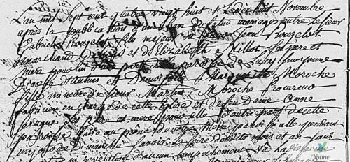Acte de mariage de Gabriel Rougetot & Marguerite Moroche - Coulanges-sur-Yonne - 18 novembre 1788 (source : AD89 en ligne [5 Mi 313/6 1786-AN 4])