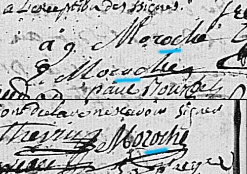 """Signatures """"Moroche"""" / """"Morache"""" à différent endroits d'un acte de mariage (Coulanges-sur-Yonne - 1778 - 5 Mi 313/2 - AD89)"""