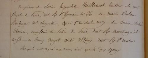 Témoins sur l'acte de mariage religieux de François Henry CHAMBRON et Gabrielle DESGROUX