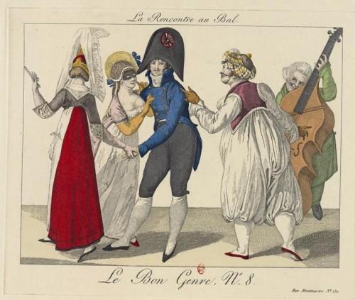 Rencontre au Bal (réimpression d'une gravure de 1827 in Le Bon Genre , 1931. Source : Gallica)